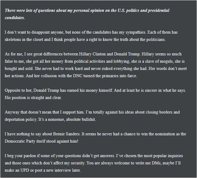 Розповідь Guccifer 2.0 про себе на сайті, а також його ставлення до виборів в США в 2016 році