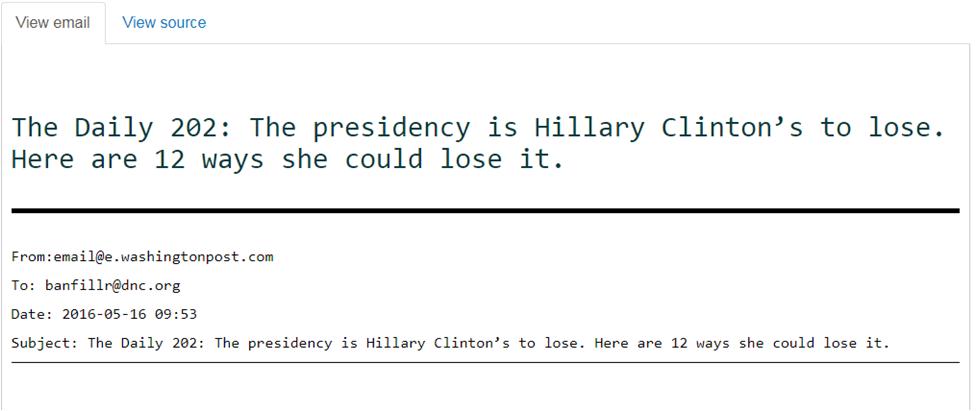 Архіви метаданих з електронними листами Хілларі Клінтон