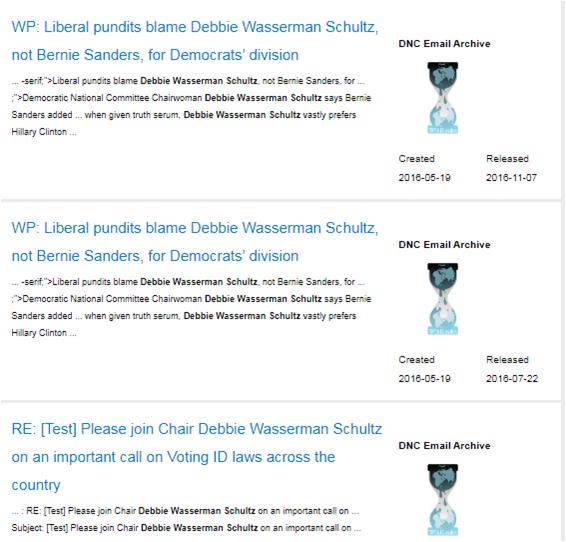 Архіви, в яких міститися листування Вассерман Шульц про перешкоджання у виборах однопартійця Клінтон Берні Сандерса