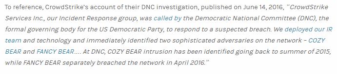 Розслідування CrowdStrike, в якому говориться, що російські хакери вже мали доступ до серверів DNC ще за рік до офіційного злому