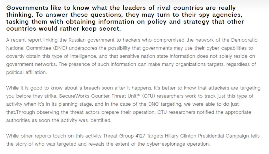 Звіт SecureWorks про проведене розслідування і висновках про причетність угруповання TG -4127 до злому серверів DNC