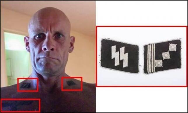 Фото Дмитрия «Девятого» Уткина с нацистскими татуировками и в форме СС на поле боя